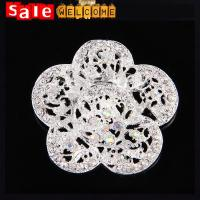 Buy cheap Silver White Collar Clip Pins Brooch ,Wedding Gold Flower Luxury Brooch Bouquet Wholesale from wholesalers