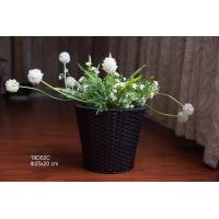 Buy cheap 25cm Round shape Black color PE rattan woven flower pot and plant pots,hanging flower pot, flower pot from wholesalers