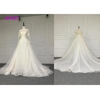 Buy cheap Crystal A Line Ball Gown Wedding Dress / Tulle Long Sleeve Ball Gown Wedding Dress from wholesalers