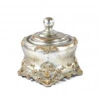 Buy cheap Square Anniversaries Resin Trinket Box Antique Silver Embellished With Gold from wholesalers