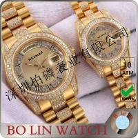Buy cheap Stainless Steel Case Quartz Gold Watch , Mens Diamond Gold Watch For Couple / Twin from wholesalers