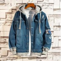 Buy cheap Men's New Design Fashion Jeans Washed Jacket with Knitted Jersey Hooded from wholesalers