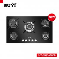5 burners red colour tempered glass gas hobs,cast iron pan support,FFD Manufactures