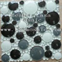 Buy cheap White Black 3D Ronnd Glass Mosaic Tile product