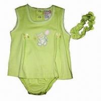 Buy cheap Baby Romper with Printed Wordings Design, Made of 100% Cotton, Interlock, OEM Orders are Welcome from wholesalers