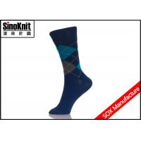 Buy cheap Dark Blue Mens Casual Socks Argyle Fancy Pattern Jacquard Male Sock from wholesalers