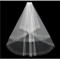Wholesale 2018 New European and American double wedding, wedding, face veil, hand-stitched pearls, bridal veil from china suppliers