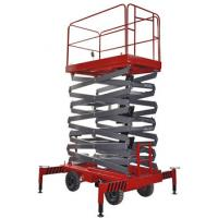Buy cheap 14m 500kg Manual Pushing Mobile Telescoping Lift Red Hydraulic Elevator Aerial Work Platform from wholesalers