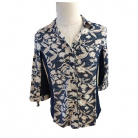 Buy cheap Women Taupe Print Half Sleeve Blouse and Top, Ladies V Neck Shirt from wholesalers