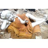 China polished marble sleeping girl statue in chair/ nature stone sculpture on sale