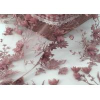 Buy cheap Embroidered Mesh Lace Fabric Wine Red Or Pale Yellow Color Accept Custom Designs from wholesalers