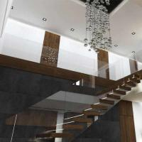 Wholesale Prefab house Modern straight staircase with hardwood floor metal railing solid wood stairs for homes from china suppliers