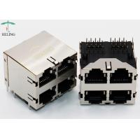 Buy cheap 2 x 2 Ports Stacked RJ45 Connectors Shielding Through Hole Type PBT Material from wholesalers