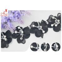 Buy cheap Black 3D Flower Embroidered Lace Trim With Beaded Azo Free Dyeing Pass OEKO TEX from wholesalers