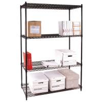 Buy cheap Four Tier Office Storage Steel Wire Shelving / Black Metal Freestanding Rack from wholesalers