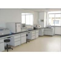 Buy cheap White Stable Steel / Wood 16mm MDF Laboratory Wall Bench With PVC Handle from wholesalers