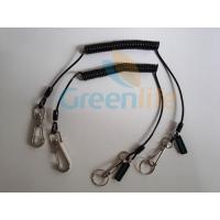Buy cheap 0.8 Steel Wire Inside Best PU Jacket Spring Coiled Protective Lanyard Tether w/Custom Logo Tag from wholesalers