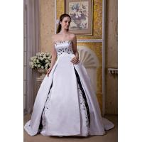 Wholesale Attractive Strapless White & Black Satin Long Wedding Bridal Gown With Embroidery from china suppliers