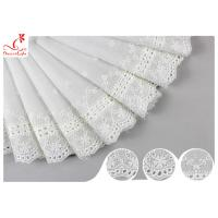 Buy cheap White Cotton Lace Fabric / Eyelet Lace Trim Ribbon With Floral Lace Scalloped Edge DTM Color Dyeing from wholesalers