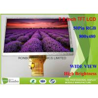 Wholesale High Brightness 7.0 Inch Industrial LCD Screen Resolution 800x480 LCD Display with 50pin RGB Interface from china suppliers