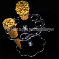 China Cone Holder Acrylic Retail Store Fixtures 8 Holes Ice Cream Display Stand For Party on sale