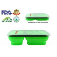 900 ML Protable Green Tow Compartment Collapsible Silicone Food Containers Manufactures