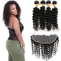 Buy cheap Healthy 100 Unprocessed Virgin Brazilian Hair Deep Wave Customized Color from wholesalers
