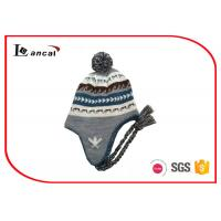 Buy cheap Grey Cable Knit Trapper Hat Pom And Braid 52cm Kids Winter Hats With Brim from wholesalers