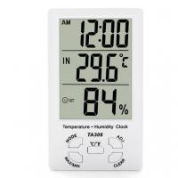 Quality TA308 Digital LCD Temperature Humidity Meter with Clock Household Thermometer for sale