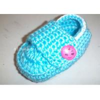 Buy cheap Cyan Crochet Baby Shoes Flat Heel / Apple Button Crochet Shoes For Toddlers from wholesalers