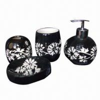 Buy cheap Cool Black 4pcs Ceramic Bathroom Accessories Set, Various Colors, OEM and ODM Orders are Welcome from wholesalers