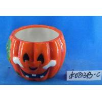 Pumpkin Small Ceramic Flower Pots Ghost Design 15 X 15 X 15 Cm For Halloween Manufactures