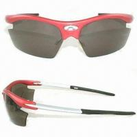 Buy cheap Interchangeable Lens Sports Sunglasses with Poly Sticker on Front of the Frame from wholesalers