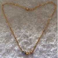 China Golden Chain Stainless Steel Necklace With 3 Pcs Plating Color Ballls on sale