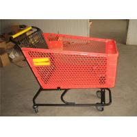 Buy cheap Portable Plastic Shopping Trolley 4 Wheel Red Supermarket Shopping Basket from wholesalers