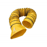 Buy cheap Yellow Flexible Air Ducting Tarpaulin Fabric Air Duct PVC Flexible Air Ducting Air Distribution Duct with Holes from wholesalers