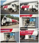 Buy cheap 10metric tons 336hp SINO TRUK HOWO brand lpg gas dispensing truck for filhling gas bottles, 25m3 lpg gas dispenser truck from wholesalers
