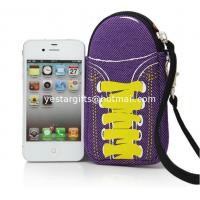 Wholesale Soft Purple Neoprene Phone Case With Wrist Strap , Special Shoes Design from china suppliers