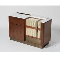 Buy cheap Walnut Veneer Functional Console Hotel Room Dresser With Brushed Brass Metal Base product