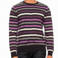 Buy cheap Men's Knitted Crew Neck Long Sleeves Pullover with Stripes from wholesalers