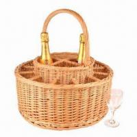 Buy cheap Natural Willow Wicker Wine Carrier with Handle/12 Wine Glasses, Ideal for Garden Party Basket Use from wholesalers