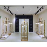 Buy cheap Women Clothing Store Shelves / Retail Clothing Display Systems Golden Color from wholesalers
