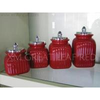 Wholesale Kitchenware black and white series ceramic canister with plated lid from china suppliers
