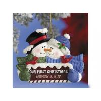Buy cheap Polyresin Ornaments Resin Personalized Snowcouple Ornament. from wholesalers