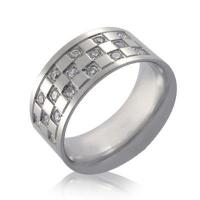 Buy cheap Stainless Steel Check Board Design Ring with Cubic Zirconia Gemstones from wholesalers