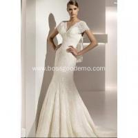 Buy cheap Trumpet Mermaid V-neck Short Sleeves Chapel Train Lace Wedding Dress from wholesalers