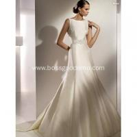 Buy cheap A-line Bateau Neck Chapel Train Satin U-back Beading Wedding Dress from wholesalers