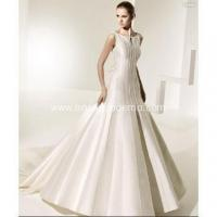 Buy cheap Ball Gown Open Neckline Cathedral Train Satin Bowknot V-back Wedding Dress from wholesalers