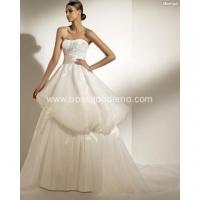 Ball Gown Sweetheart Strapless Chapel Train Organza Appliques Ribbons Wedding Dress Manufactures