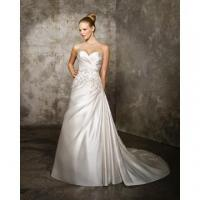 A-line Sweetheart Cathedral Train Satin Criss-Cross Beading Wedding Dress Manufactures